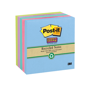 3M 654-5SST Post-it Super Sticky Recycled Notes, 3 in x 3 in (76 mm x 76 mm) Bora Bora Collection