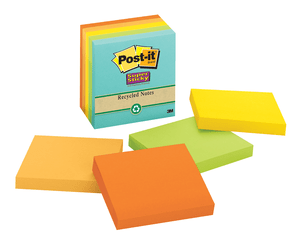 3M 654-5SSNRP Post-it Super Sticky Recycled Notes, 3 in x 3 in (76 mm x 76 mm) Bali Collection