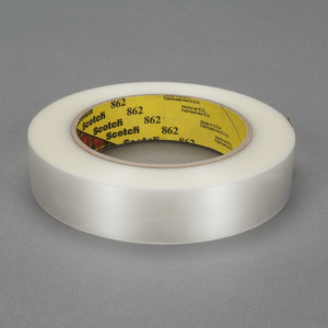 3M 862 Scotch Reinforced Strapping Tape Clear, 24 mm x 55 m, 36 rolls per case