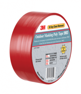 3M 5903 Outdoor Masking Poly Tape Red, 50 in x 60 yd, 4 per Case Bulk