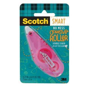 3M 6061-HRT Scotch Patterned Adhesive Roller Hearts, Pink