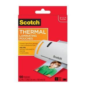 "3M 5903-100 Scotch Thermal Pouches TP5903-100, for 5""x7"" Photos 100 CT"